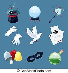 rejtély, henger, varázslatos, ikonok, set., könyv, pálca, vektor, ábra, meglep, karikatúra, varázsló, style.