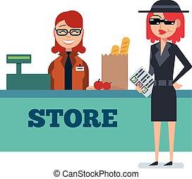 rejtély, kémkedik, élelmiszerbolt, nő, anyagbeszerző, bőr, ellenőriz, bolt