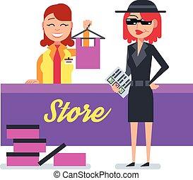 rejtély, kémkedik, nő, anyagbeszerző, bőr, öltözet, ellenőriz, bolt