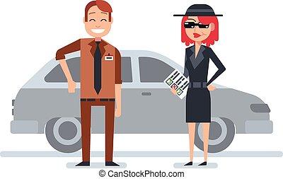rejtély, kémkedik, nő, anyagbeszerző, bőr, ellenőriz, autóügynök