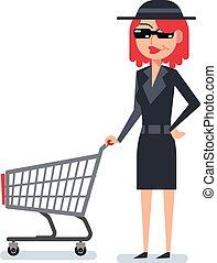 rejtély, kémkedik, woman bevásárol, anyagbeszerző, bőr, kordé