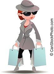 rejtély, kémkedik, woman bevásárol, anyagbeszerző, pantalló, bőr, dolgozat