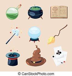 rejtély, különböző, állhatatos, varázslatos, ikonok, könyv, wand., pergament, jelkép, vektor, varázsló, magicians., mód, karikatúra