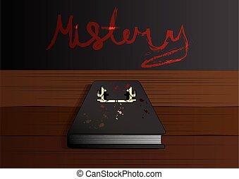 rejtély, vektor, őz, könyv, ábra