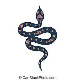 rejtett, jelkép, kígyó, illustration., vektor