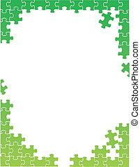 rejtvény, ábra, darabok, zöld, sablon, határ