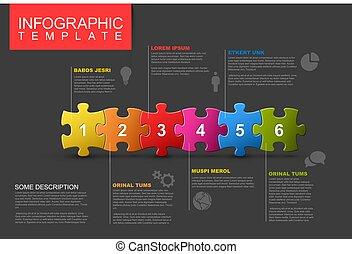 rejtvény, hat, darabok, infographic, lépések, sablon