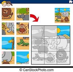 rejtvény, karikatúra, játék, lombfűrész, állatok