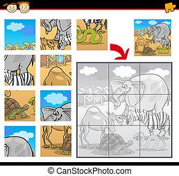 rejtvény, lombfűrész, állatok, karikatúra, szafari