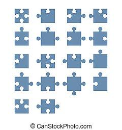 rejtvény, lombfűrész, alkatrészek, vektor, constructor., tiszta, összes, set.