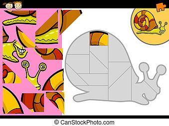 rejtvény, lombfűrész, játék, csiga, karikatúra