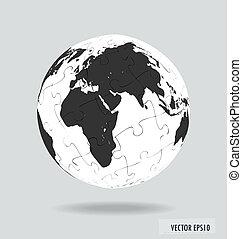 rejtvény, vektor, globe., illustration.