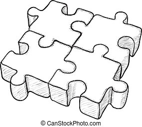 rejtvény, vektor, -, rajz, alakú