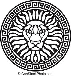 relief., portré, meanders., oroszlán, antik