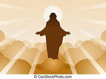 remény, hit, bizalom, kezd, szándékozik, krisztus, nehézkes, jézus, felhő, fény