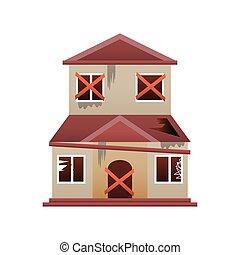 remodeling, romos, épület, hajlandó, ikon, átalakít, öreg, otthon, vektor, tervezés