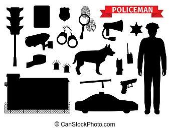 rendőrség, ikonok, rendőr, árnykép, felszerelés