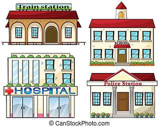 rendőrség, izbogis, kiképez, kórház, állomás, állomás