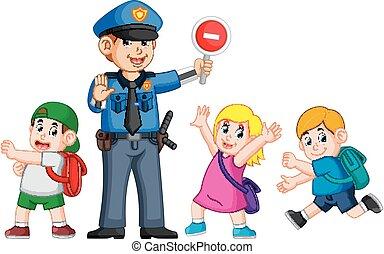 rendőrség, segítség, cégtábla, abbahagy, kereszt, zebra, hágó, használ, gyerekek