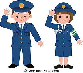 rendőrség tiszt, gyerekek