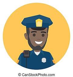 rendőrség, váll, fekete, rádió, tiszt, állhatatos