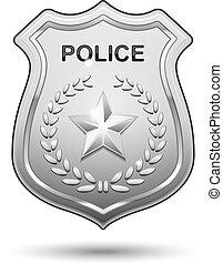 rendőrség, vektor, jelvény