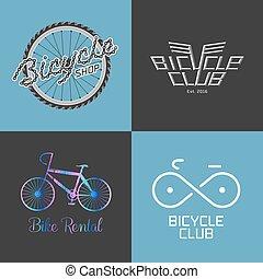 rendbehozás, bicikli bevásárlás, állhatatos, bicikli, gyűjtés, vektor, lakbér, jel