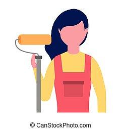rendbehozás, nő, szerkesztés, festmény, hajcsavaró