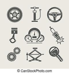 rendbehozás, rész, állhatatos, ikon, autó