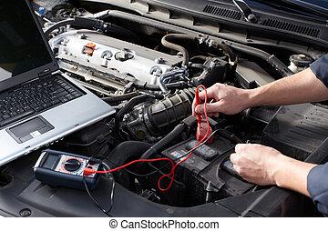 rendbehozás, service., dolgozó, autószerelő, autó