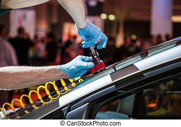 rendbehozás, szélvédő, autó