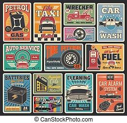 rendbehozás, szolgáltatás, autó, garázs, retro, autó, kártya