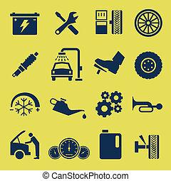 rendbehozás, szolgáltatás, autó, jelkép, autó, ikon