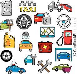 rendbehozás, szolgáltatás, ikonok, autó