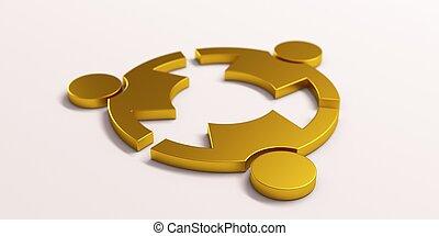 render, arany, emberek, kezezés., három, ábra, birtok, 3