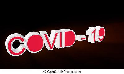 render, coronavirus, covid-19, szöveg, 3, fogalom, fehér, ábra, vagy, háttér.