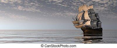 render, kereskedelmi, 3, óceán, öreg, hajó, -