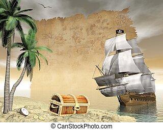 render, kincs, -, lelet, hajó, kalóz, 3