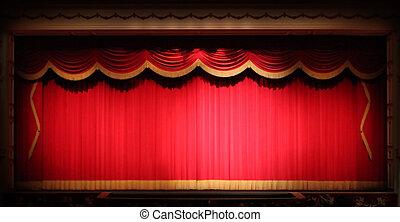 rendes, színház, fokozat, háttér, szövettel bevon, fényes, sárga, szüret