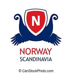 rendező, skandinávia, cirkál, szín, flag., utazás, -, norvegian, társaság, tenger, jel, embléma, norvégia, nemzeti