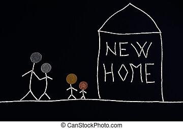 rendkívüli, fogalom, család, gyerekek, új, élvez, otthon