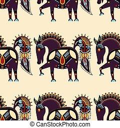rendkívüli, ruhaanyag példa, törzsi, seamless, állat, etnikai