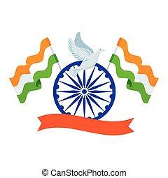 repülés, gördít, chakra, galamb, india, indiai, ashoka, kék, zászlók, jelkép