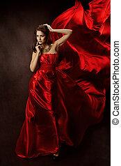 repülés, nő, ruha, szerkezet, piros