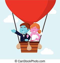 repülés, párosít, házas, balloon, levegő