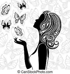 repülés, pillangók, nő, árnykép, fiatal