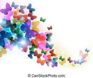 repülés, színes, pillangók