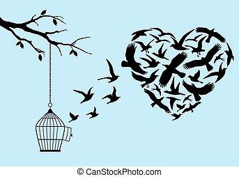 repülés, vektor, madarak, szív