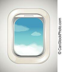 repülőgép, ég, ablak, színhely