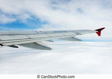 repülőgép, ég, kilátás